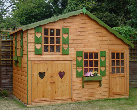 Wooden play houses in essex wrights sheds ltd for Wooden playhouse with garage